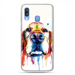 Samsung Galaxy A40 - etui na telefon wzory - Pies labrador watercolor.
