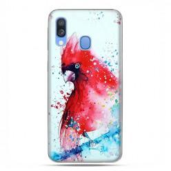 Samsung Galaxy A40 - etui na telefon wzory - Czerwona papuga watercolor.