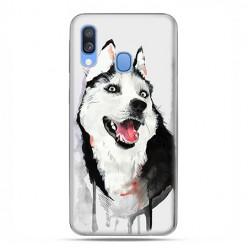Samsung Galaxy A40 - etui na telefon wzory - Pies Husky watercolor.