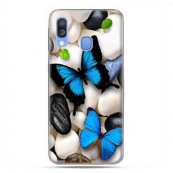 Samsung Galaxy A40 - etui na telefon wzory - Niebieskie motyle.