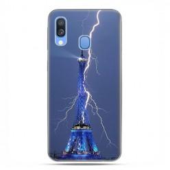 Samsung Galaxy A40 - etui na telefon wzory - Wieża Eiffla z błyskawicą.