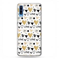 Samsung Galaxy A70 - etui na telefon wzory - Serduszka Love.