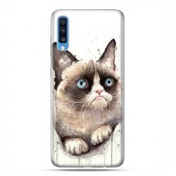 Samsung Galaxy A70 - etui na telefon wzory - Kot zrzęda watercolor.