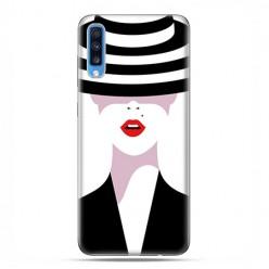 Samsung Galaxy A70 - etui na telefon wzory - Kobieta w kapeluszu.