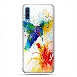 Samsung Galaxy A70 - etui na telefon wzory - Niebieski koliber watercolor.