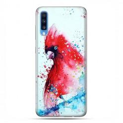Samsung Galaxy A70 - etui na telefon wzory - Czerwona papuga watercolor.