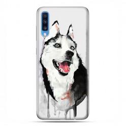 Samsung Galaxy A70 - etui na telefon wzory - Pies Husky watercolor.