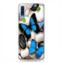 Samsung Galaxy A70 - etui na telefon wzory - Niebieskie motyle.