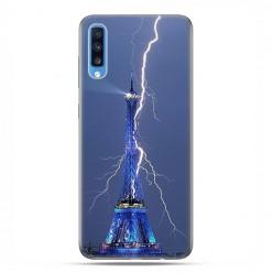 Samsung Galaxy A70 - etui na telefon wzory - Wieża Eiffla z błyskawicą.