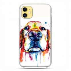 Etui case na telefon - Apple iPhone 11 - Pies labrador watercolor.