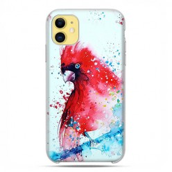 Etui case na telefon - Apple iPhone 11 - Czerwona papuga watercolor.