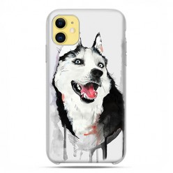 Etui case na telefon - Apple iPhone 11 - Pies Husky watercolor.