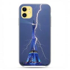 Etui case na telefon - Apple iPhone 11 - Wieża Eiffla z błyskawicą.
