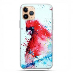 Etui case na telefon - Apple iPhone 11 Pro - Czerwona papuga watercolor.