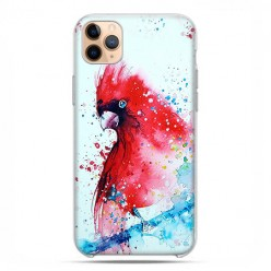 Etui case na telefon - Apple iPhone 11 Pro Max - Czerwona papuga watercolor.