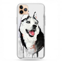 Etui case na telefon - Apple iPhone 11 Pro Max - Pies Husky watercolor.