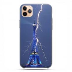 Etui case na telefon - Apple iPhone 11 Pro Max - Wieża Eiffla z błyskawicą.