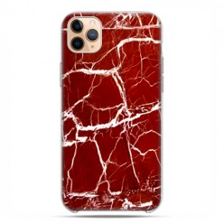Etui case na telefon - Apple iPhone 11 Pro Max - Spękany czerwony marmur