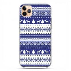 Etui case na telefon - Apple iPhone 11 Pro Max - Niebieskie renifery sweterek