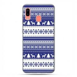 Samsung Galaxy A20E - etui na telefon wzory - Niebieskie renifery sweterek