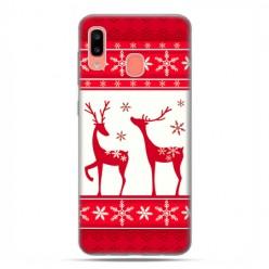 Samsung Galaxy A20E - etui na telefon wzory - Czerwony renifer świąteczne