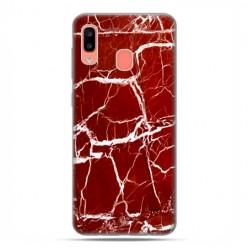 Samsung Galaxy A20E - etui na telefon wzory - Spękany czerwony marmur