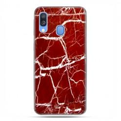 Samsung Galaxy A40 - etui na telefon wzory - Spękany czerwony marmur