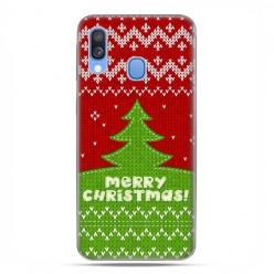 Samsung Galaxy A40 - etui na telefon wzory - Świąteczna choinka sweterek
