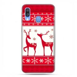 Samsung Galaxy A40 - etui na telefon wzory - Czerwony renifer świąteczne