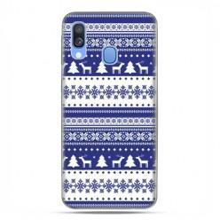 Samsung Galaxy A40 - etui na telefon wzory - Niebieskie renifery sweterek
