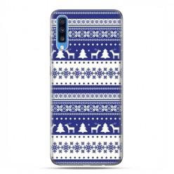 Samsung Galaxy A70 - etui na telefon wzory - Niebieskie renifery sweterek