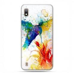 Etui case na telefon - Samsung Galaxy A10 - Niebieski koliber watercolor.