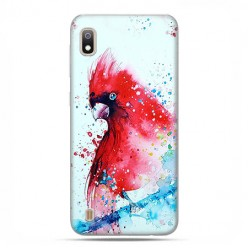 Etui case na telefon - Samsung Galaxy A10 - Czerwona papuga watercolor.
