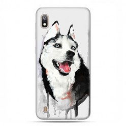 Etui case na telefon - Samsung Galaxy A10 - Pies Husky watercolor.