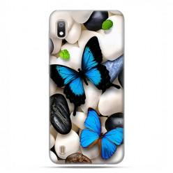 Etui case na telefon - Samsung Galaxy A10 - Niebieskie motyle.