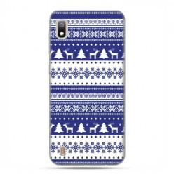 Etui case na telefon - Samsung Galaxy A10 - Niebieskie renifery sweterek