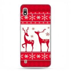 Etui case na telefon - Samsung Galaxy A10 - Czerwony renifer świąteczne