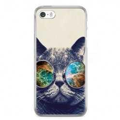Etui na telefon iPhone SE 2020r. - kot hipster w okularach.